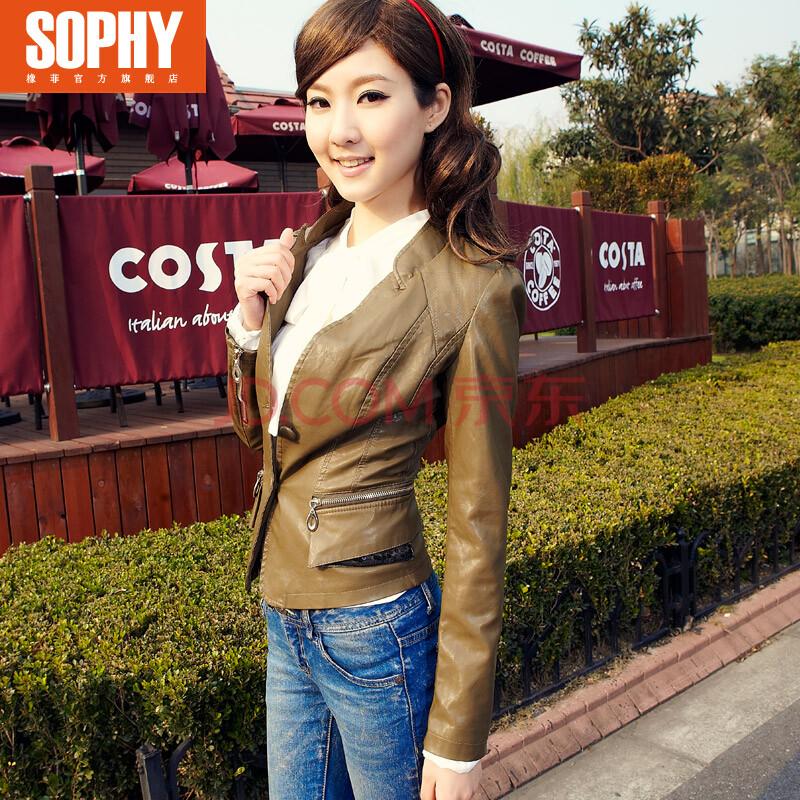 色�y.���-yol_sophy橡菲2014春装短款多色pu小皮衣女ol修身三色p夹克外套11g3532 军
