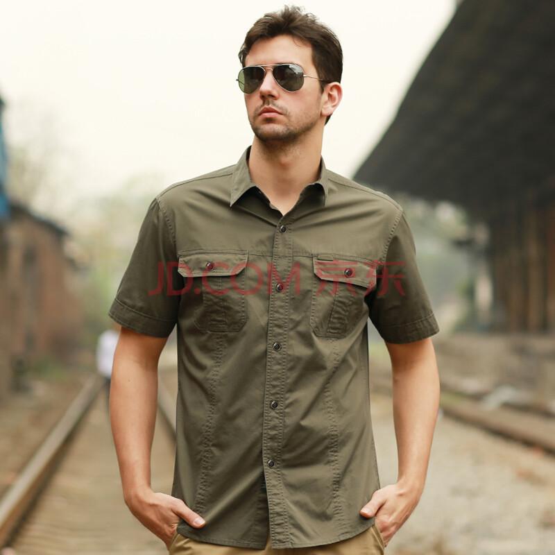 駱駝牌男裝男士短袖襯衫男式透氣短袖襯衣韓版潮男 軍圖片