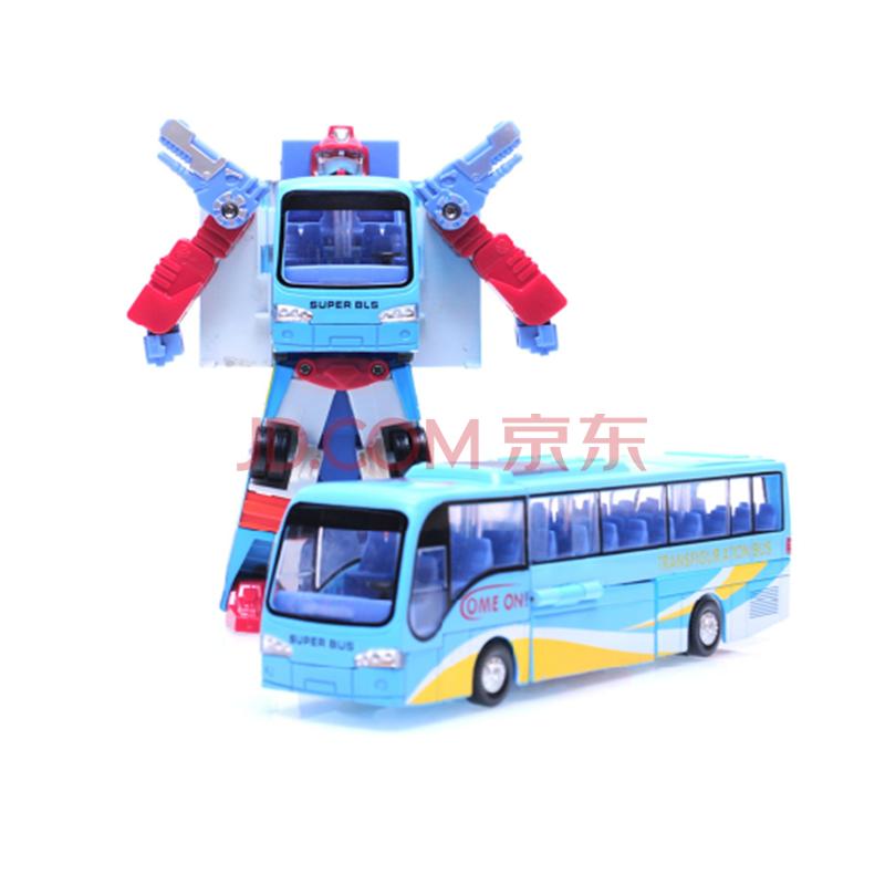 儿童玩具 汽车模型变形机器人 巴士汽车人儿童玩具车公交车模型 蓝色