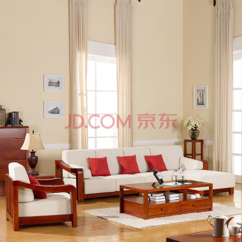 宜华家居 现代简约纯实木客厅家具 新中式家具 h014 无单人位沙发组合