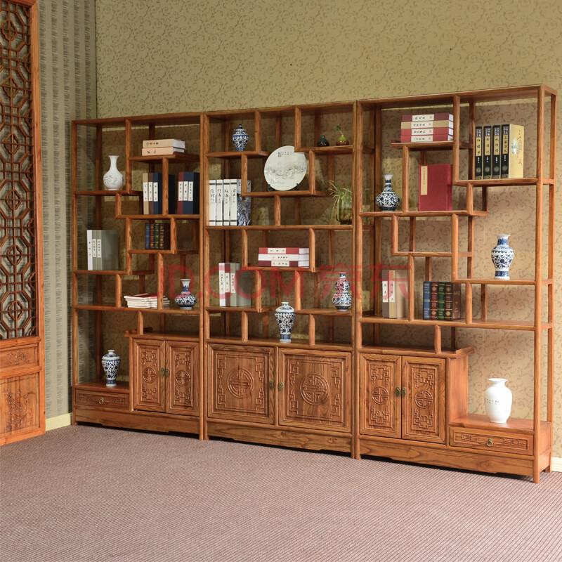 尤亞 博古架老榆木中式古董架多寶閣明清仿古實木家具圖片
