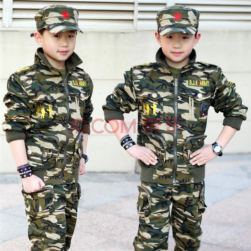 儿童迷彩服套装 2015秋装新款中大男童小孩军装帽 长袖休闲运动服