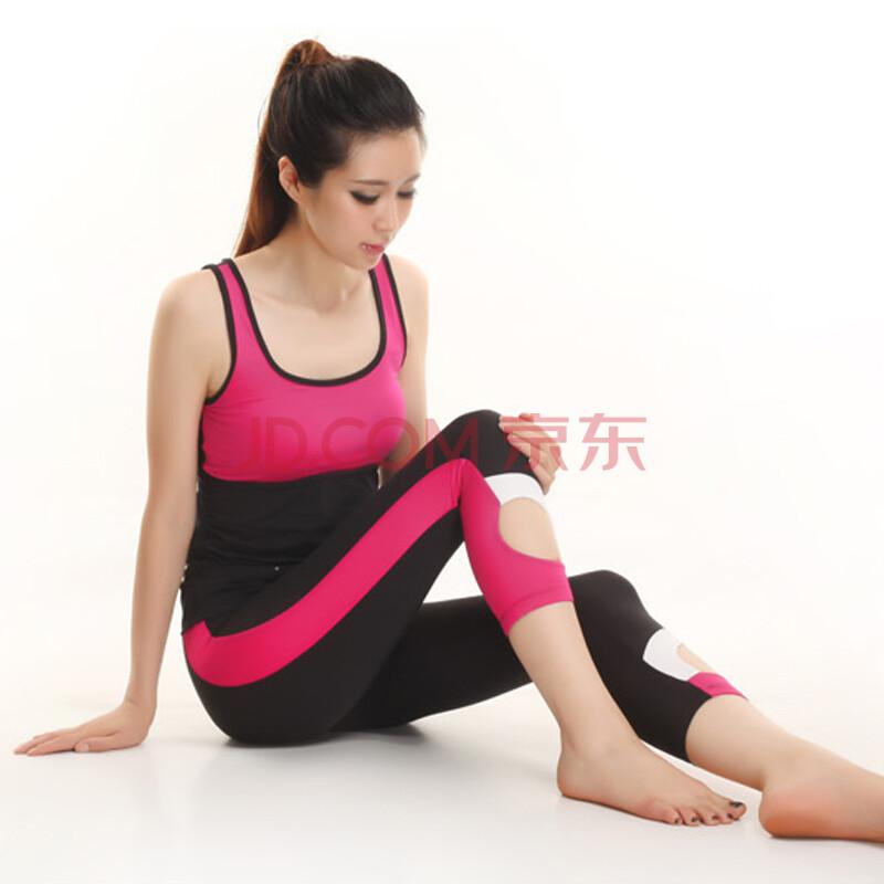 有谁操��l���_高温瑜伽服套装新款夏季健身服跳操服女大码健美操服含胸垫 深玫红 l