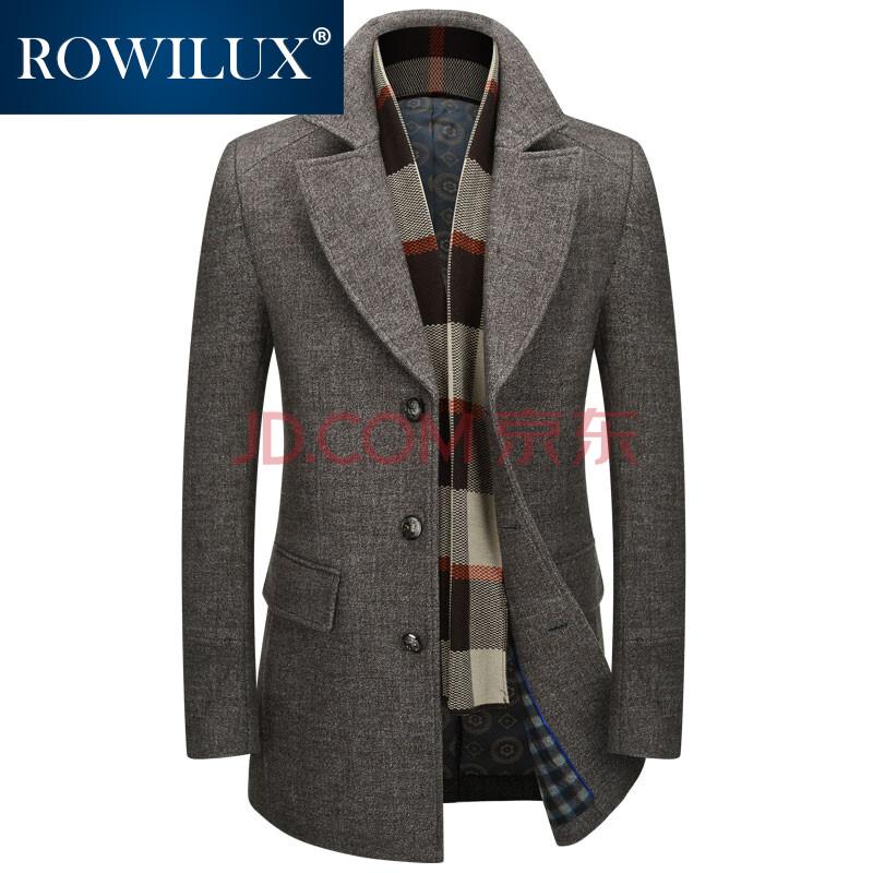 羅威品牌2015冬季新品風衣男裝外套 呢子男大衣中長修身圍巾領風衣 咖圖片