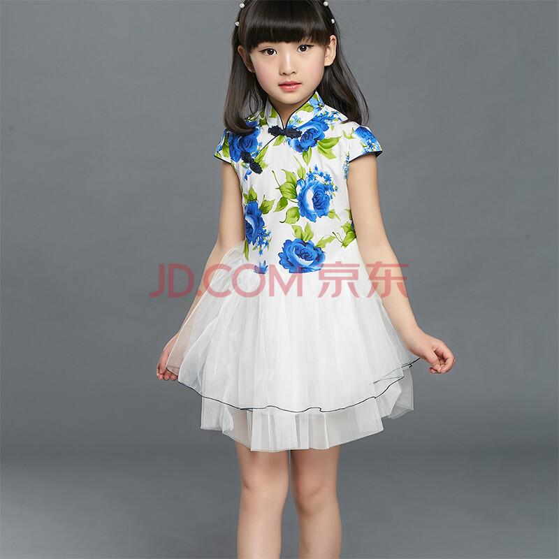 圣喜邻女童连衣裙夏装新款唐装公主裙小女孩旗袍表演