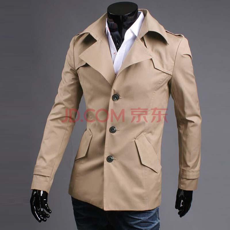 意萬利 男士秋冬季尖領翻領中長款風衣男款韓版修身斜口袋外套1016圖片