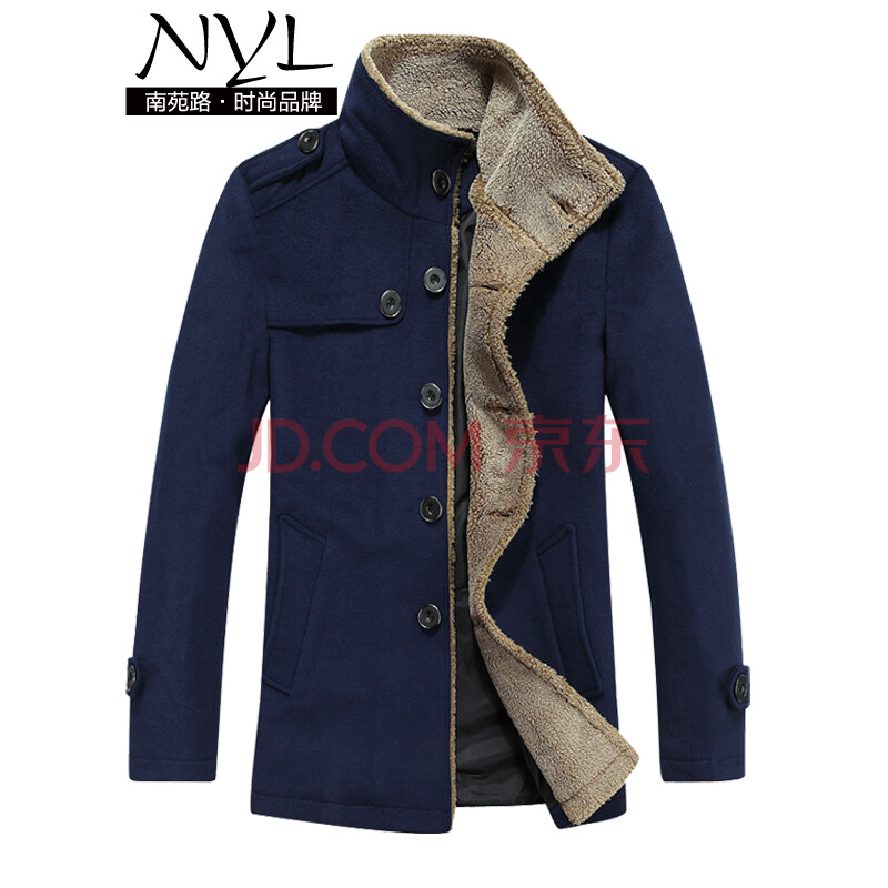 nyl新品 男羔羊絨風衣外套 大翻領男款風衣 冬季男裝加厚上衣 深藍色圖片