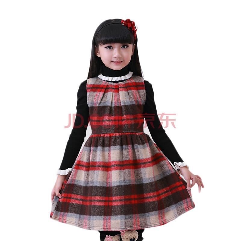 女童连衣裙2015秋冬装新款公主裙女童装儿童裙子毛裙