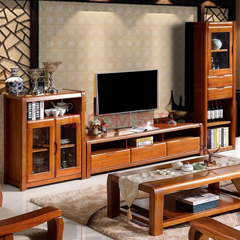 实木电视柜 胡桃木中式电视柜高低柜组合套装 高端全实木 1.9米电视柜