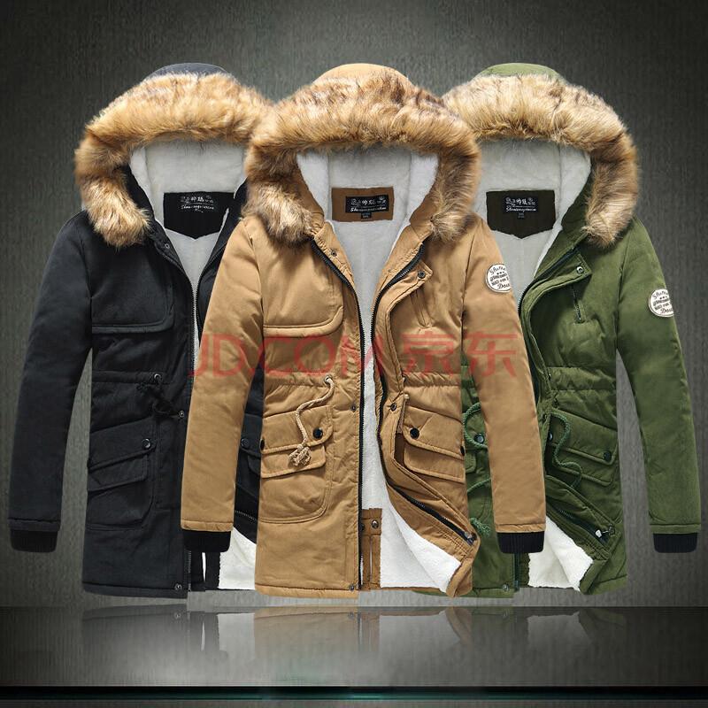 秋冬款男士羽絨棉衣新款男裝外套中長款加厚加絨情侶棉襖男 綠色 xxl圖片
