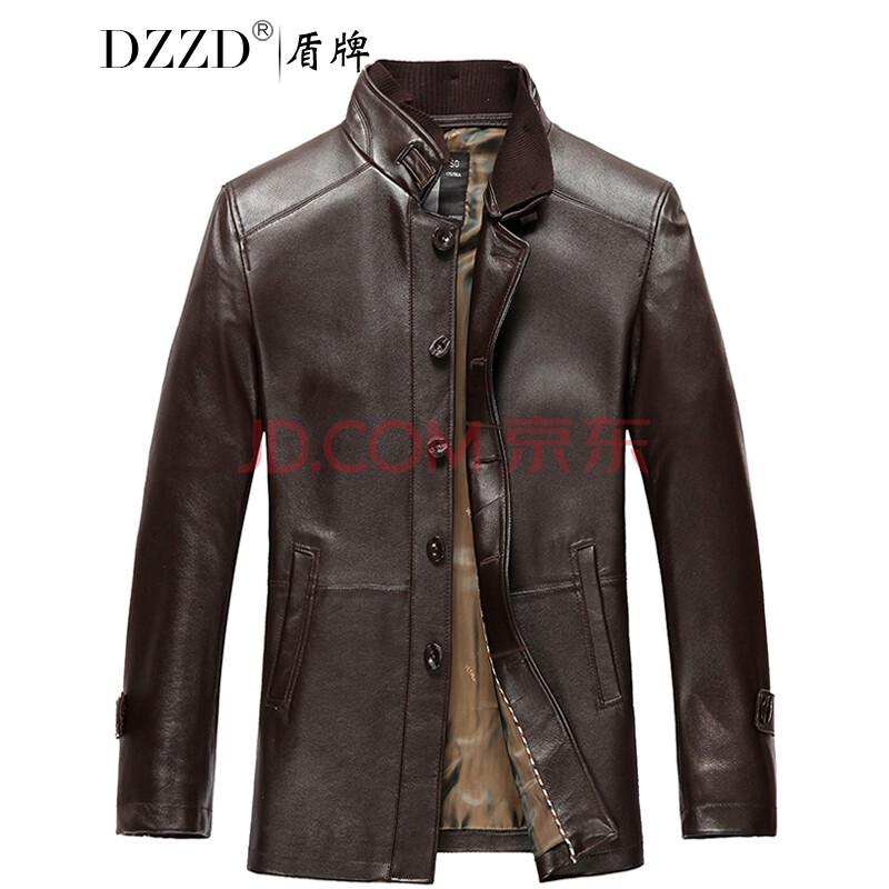 dzzd進口頭層綿羊皮風衣男士真皮皮衣中長款修身型西裝領海寧真皮外套圖片