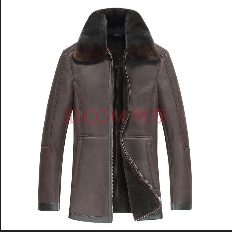 尚諾衣 海寧新款冬裝真皮皮毛一體皮衣男裝綿羊皮翻領圖片