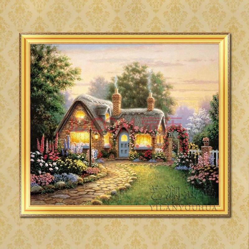 客廳臥室純手繪壁掛畫有房子風景成品帶框hj11 純手繪油畫 80*120cm