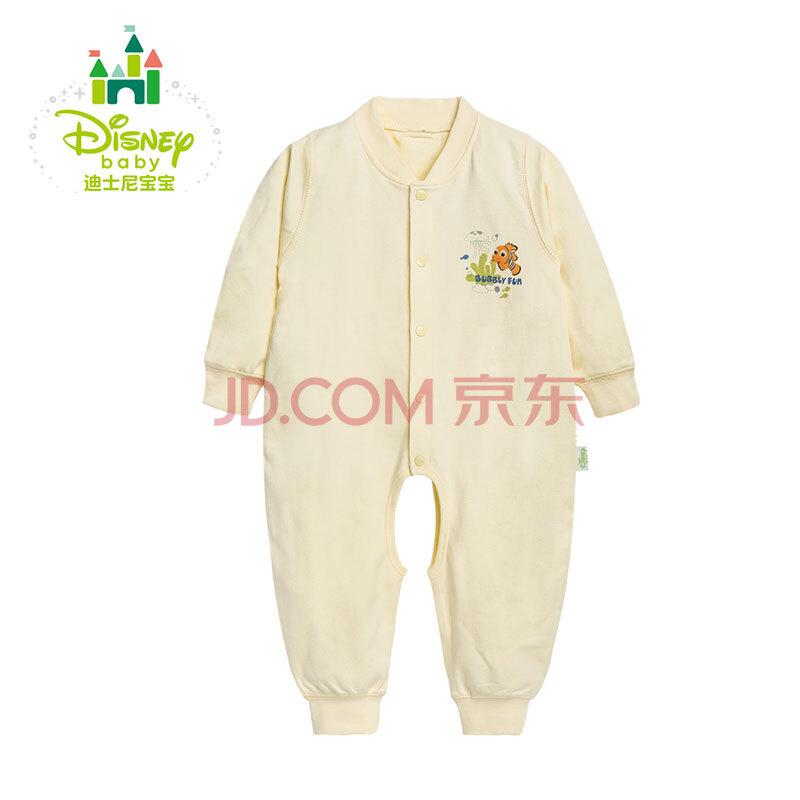 迪士尼(Disney) 婴儿连体衣 纯棉开裆宝宝哈衣连体衣爬服153L661 淡黄 73cm