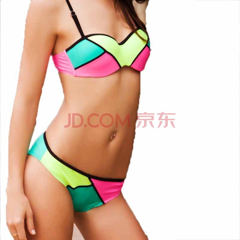 带钢托带胸垫性感露背渐变比基尼两件式带钢托带胸垫女泳衣夏季海滩