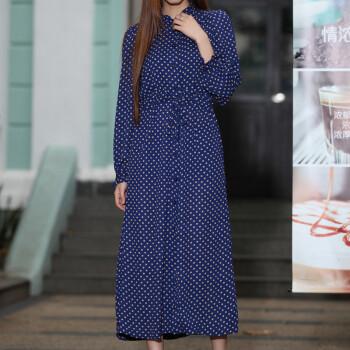 登陆?_檰2014夏韩国花瓣领波点衬衣长裙开衫 超长款系带长裙 连衣裙- 深蓝