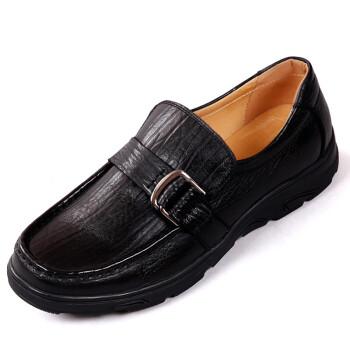bontoni_bontoni真皮正品牛皮金属扣商务黑套脚休闲鞋男鞋皮鞋