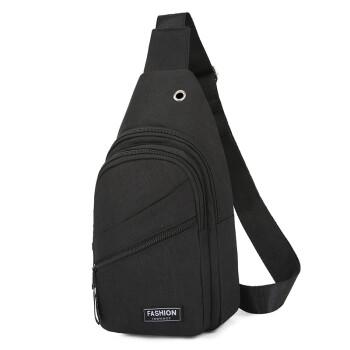 格比森(GEBISEN)胸包 男士单肩斜挎包 7.9寸ipad平板电脑包 牛津布防泼水大容量休闲背包 黑色