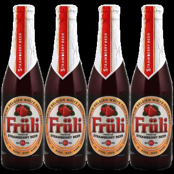 水果兰比克啤酒 果味拉比克精酿啤酒 比利时进口 女士啤酒 抖音同款 Fruli芙力草莓啤酒 芙力草莓330ml*4瓶