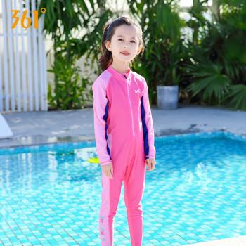 361度儿童泳衣男女童连体速干潜水衣服长袖长裤中大童游泳装 粉色 6码
