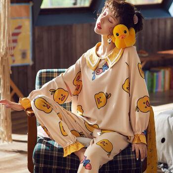 睡衣女春秋大码夏季学生长袖套装家居服可外穿月子服 黄色格子 XL 115-125斤