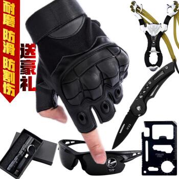 战术半指手套男防割格斗拳击户外骑行机车摩托运动健身手套 普通版-军绿(无赠品) S
