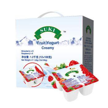 德国进口酸奶 多美鲜(SUKI)草莓覆盆子果粒全脂酸奶 杯装酸奶 100g*12杯 礼盒