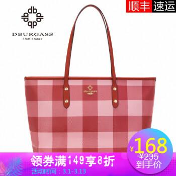 dburgass格子托特包2019新款包包女购物袋单肩手提大容量时尚女包 红格