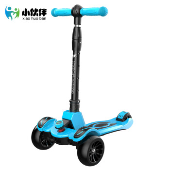 小伙伴 滑板车 儿童滑板车2-12岁小孩溜溜车3岁6岁宝宝闪光四轮滑滑踏板车 F6天空蓝