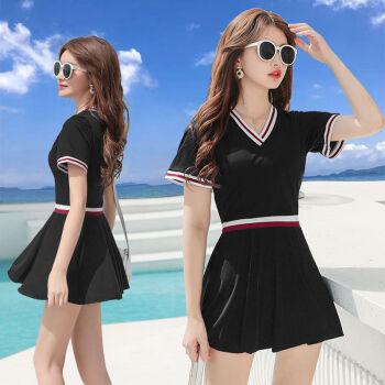 新款游泳衣女温泉裙式分体保守韩国ins遮肚显瘦平角裤两件套泳衣 黑色 L建议体重95-105斤