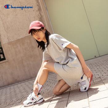 Champion冠军春夏新款草写刺绣小LOGO男友T恤女 牛津灰 M