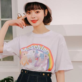 城加(CITYPLUS) 2019新款卡通短袖彩虹T恤女学生潮CWTD192117白色均码