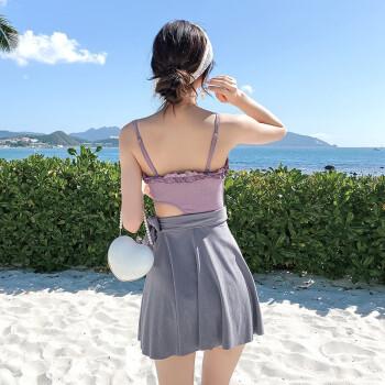 柯帛(KEBO)仙女范气质连体泳衣女 遮肚显瘦裙式平角小胸聚拢温泉度假游泳衣 2009-紫色 XL