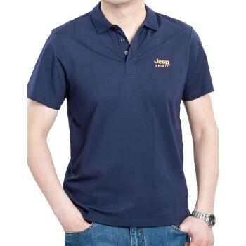 吉普JEEP T恤男短袖翻领薄款青年男士新品polo衫2020夏季半截袖男装短袖 PS3012宝蓝色 L