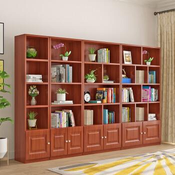 蘭慕坊(lanmufang) 书架书柜组合博古架简易书架层架落地储物柜 柚木色单层门 C款80*24*180
