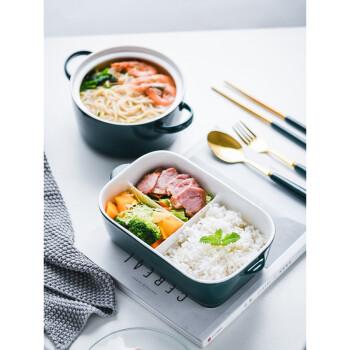 陶瓷分格便当盒墨绿色饭盒微波炉专用碗密封带盖上班族专用保鲜碗 蓝色+5寸小碗+餐具袋子