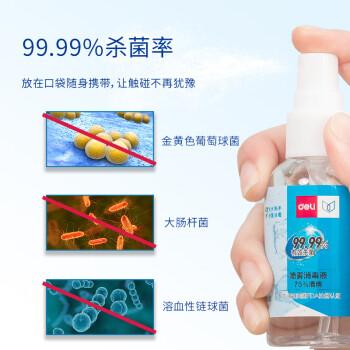 得力(deli)75%酒精免水洗消毒喷雾 消毒凝胶 50ml/瓶 6瓶装 31003-6