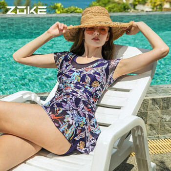 洲克 ZOKE女士泳衣连体裙摆平角保守修身显瘦休闲时尚119601516 深紫花组 XL