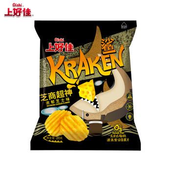 上好佳 休闲膨化零食大礼包 鲨大波浪薯片 浓郁芝士味20g*25袋