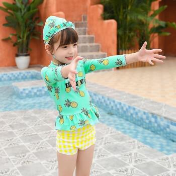 新款儿童泳衣女童 分体小中童 游泳衣女孩泳装海边温泉游泳衣 粉色 M