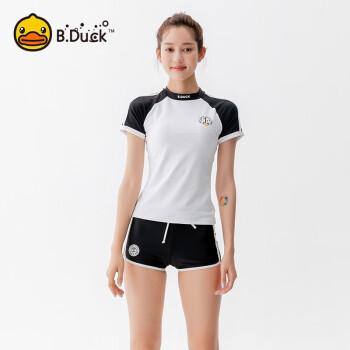 B.Duck小黄鸭 游泳衣女士分体式泳衣 2020款短袖T恤平角短裤显瘦运动款 温泉泳衣 黑白 XL