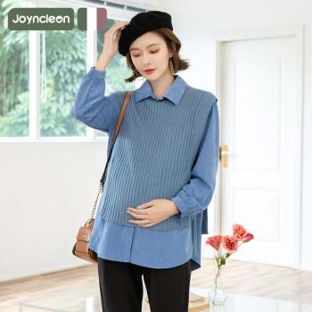 婧麒(JOYNCLEON)孕妇秋装衬衣上衣时尚款2020外出网红洋气潮辣妈孕妇两件套装 白色 M码 Jwc9262
