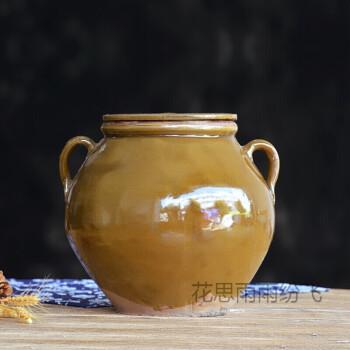 四川陶瓷装猪油罐储物罐土陶带盖厨房耐高温装油坛子油缸 10斤加厚带盖(双耳朵款)发快递