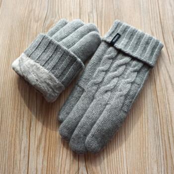 欢跃 羊绒手套秋冬天女男士纯羊毛线针织加厚棉绒触屏骑行开车保暖 男款-浅灰色 均码