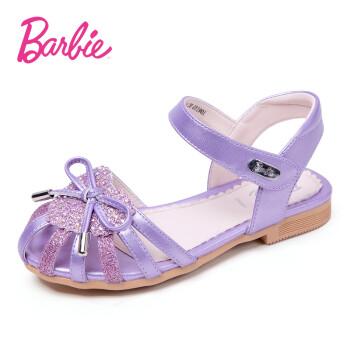 芭比 BARBIE 童鞋 女童凉鞋2019夏季新款透气时尚公主鞋儿童鞋子软底学生单鞋 2710 浅紫 32码