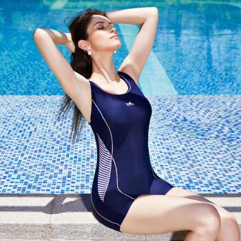 英发(YINGFA)女士泳衣 时尚动感休闲度假游泳衣 连体运动平角泳装 Y1919 藏蓝 L
