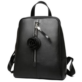波斯丹顿(BOSTANTEN)女士双肩包简约牛皮百搭背包大容量书包双肩包女包BWJD6173021黑色