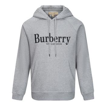 BURBERRY 巴宝莉 男士灰色混纺连帽套头衫 80071201 XL