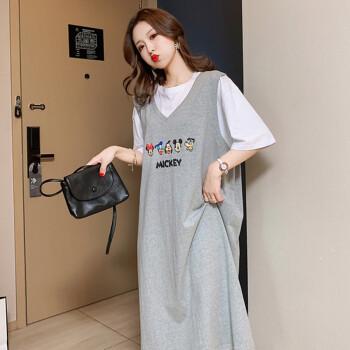 南叮雅格孕妇夏装新款韩版大码宽松连衣裙假两件T恤洋气过膝打底衫潮 灰色 XL