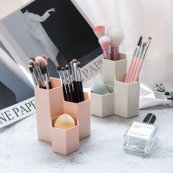 化妆刷收纳筒美妆刷子桶化妆品收纳盒女眉笔刷美妆蛋收纳创意笔筒 六棱柱3筒-可爱粉(买二送一)